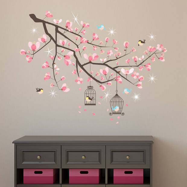 Walplus home decoratie sticker - kersen bloesem boom met 9 swarovski kristallen