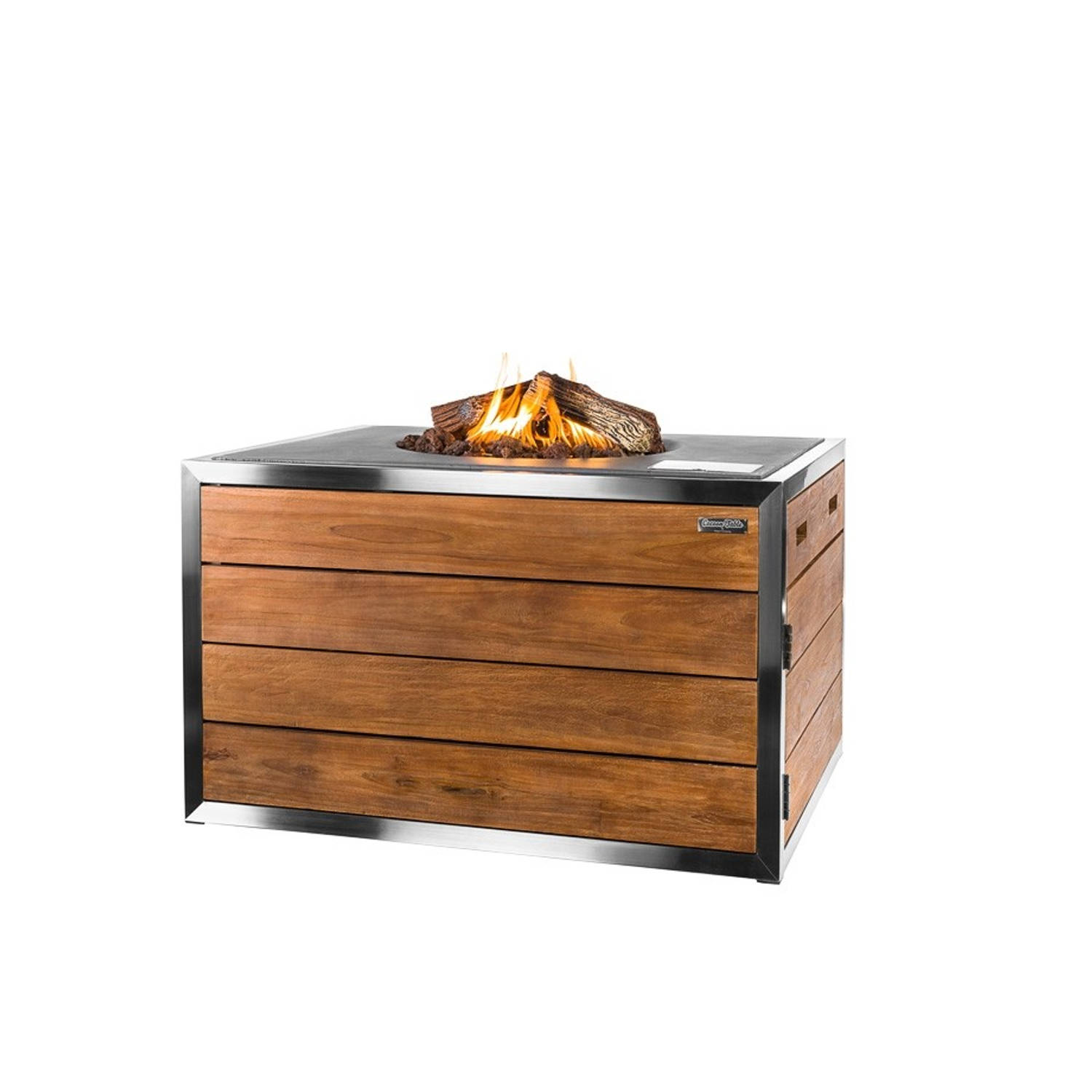 Happy Cocooning Vuurtafel Teakhout Stainless steel Lounge Dining Rechthoek Antraciet