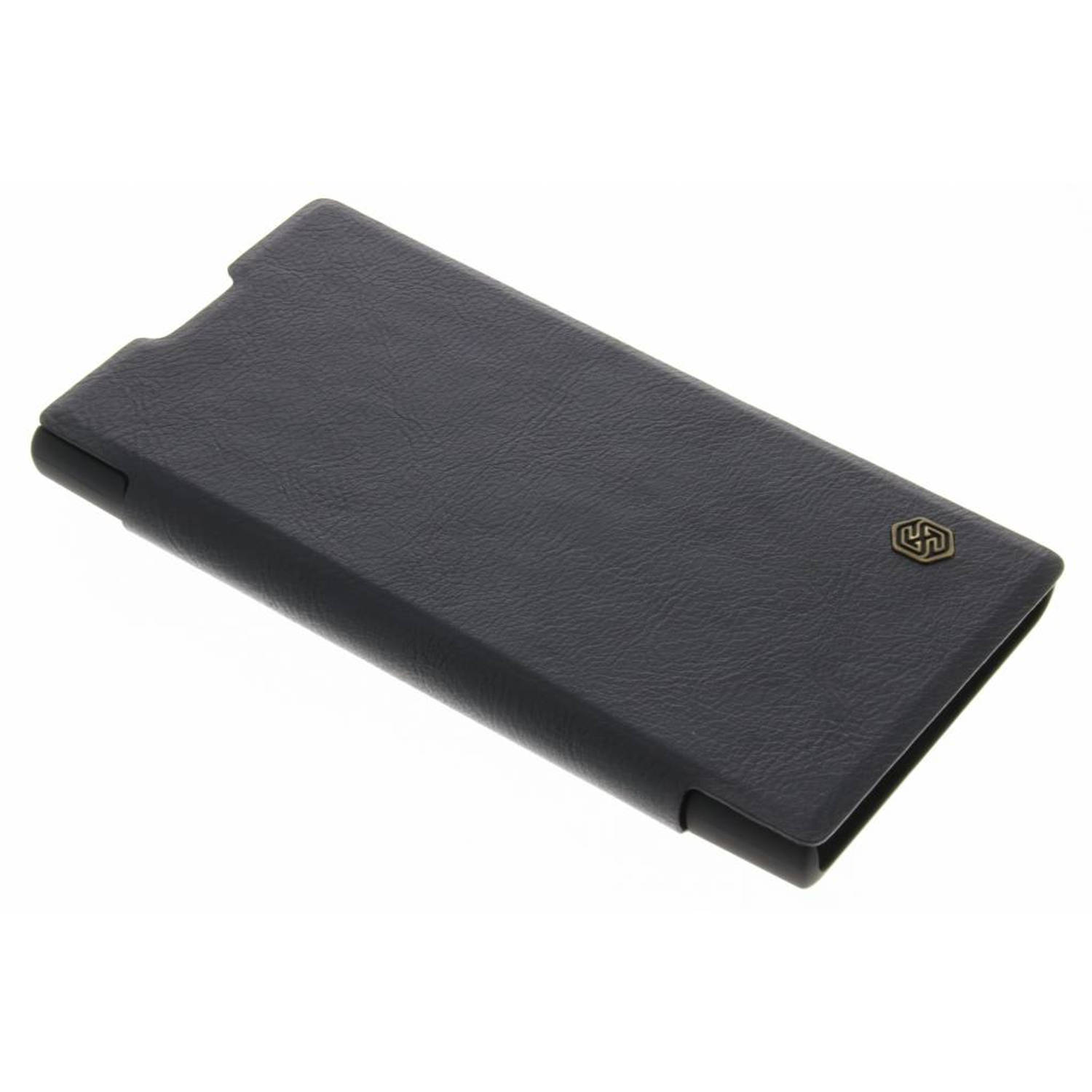 Zwarte qin leather slim booktype hoes voor de sony xperia l1