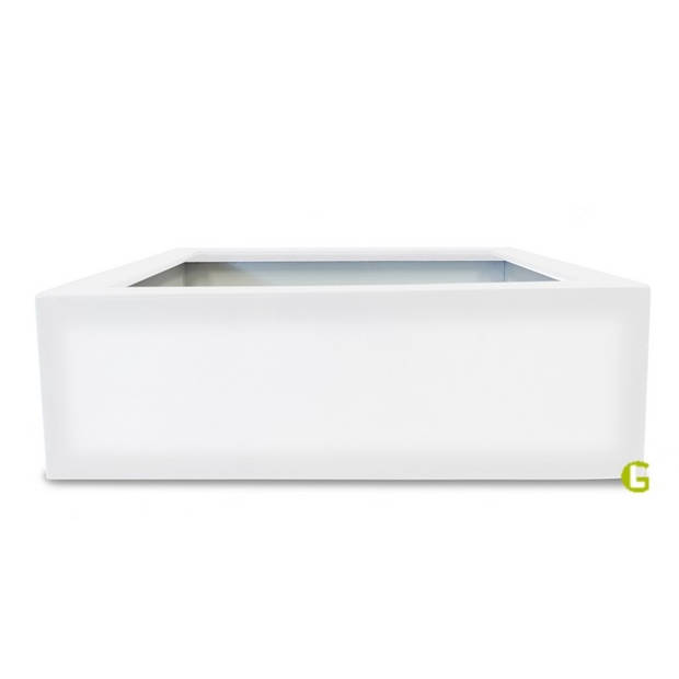 Green-lab Polyester plantenbak 120x120x40 cm zuiver wit