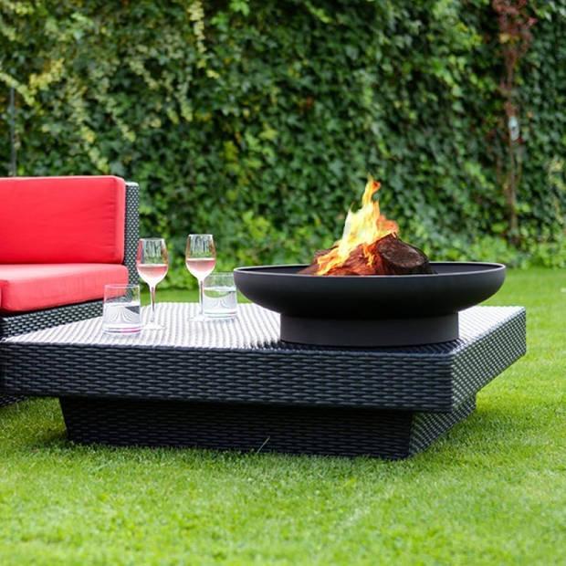 2L Home en Garden vuurschaal rond zwart Deluxe Ø60x17 cm