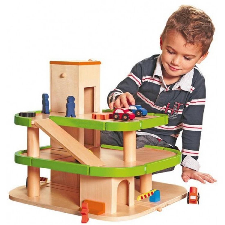Houten speelgoed garage met lift, autos en poppetjes 40 x 40 x 45 cm autogarage
