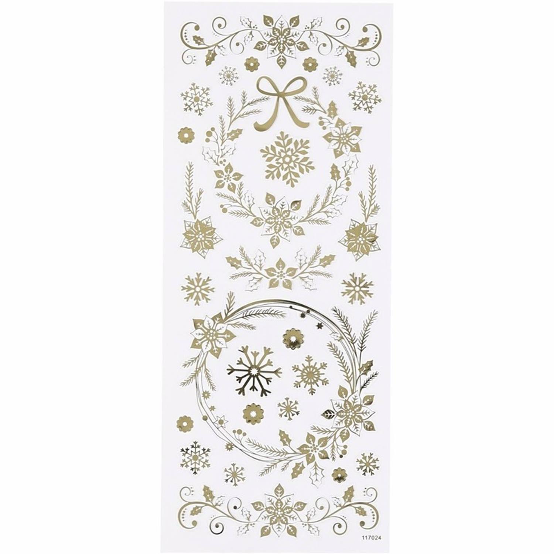 Korting Sneeuwvlokken Stickervel Met 29x Gouden Stickers Kerst Decoraties
