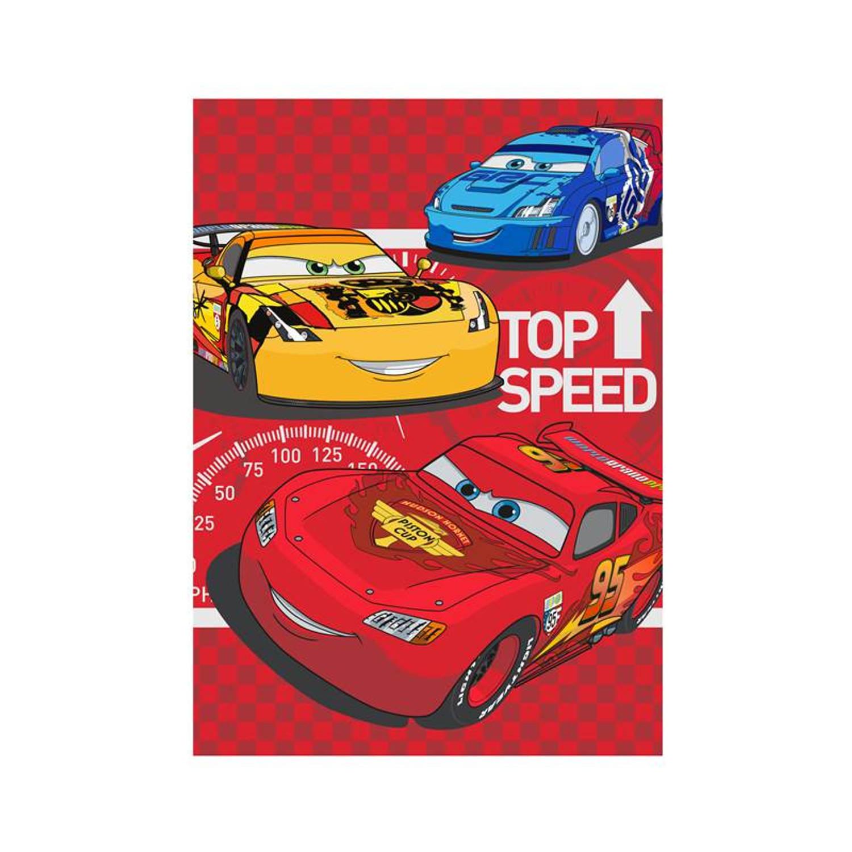 Disney Cars fleece plaid - 100% polyester, Fleece polyester - 100x140 cm - Rood