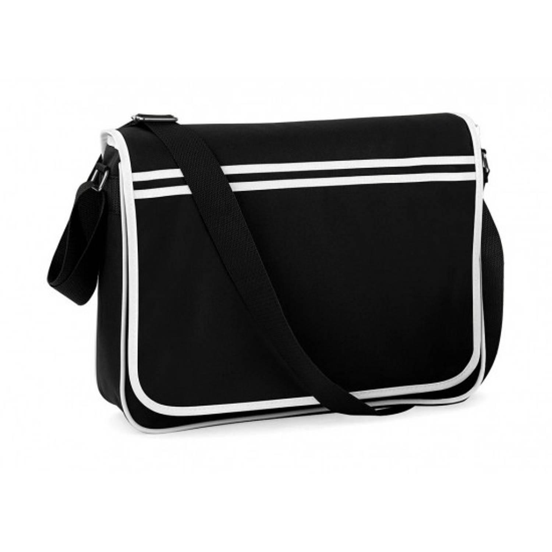 Retro messenger tas zwart met wit