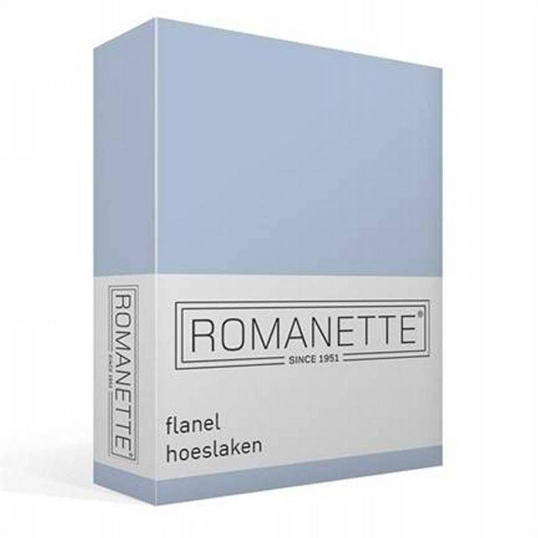 Romanette flanel hoeslaken - 100% geruwde flanel-katoen - 1-persoons (90x220 cm) - Blauw