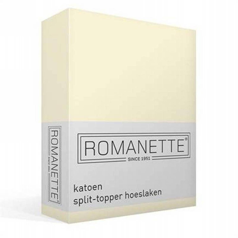 Romanette katoen split-topper hoeslaken - Lits-jumeaux (180x200 cm)