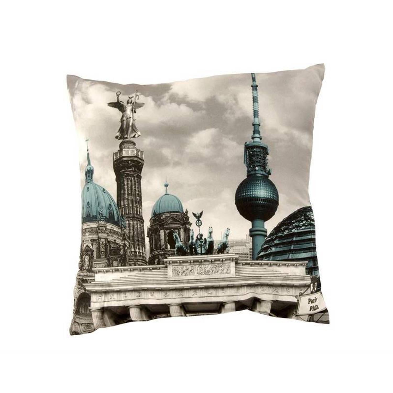 Global Labels Berlin sierkussen - 100% polyester - 40x40 cm - Blauw