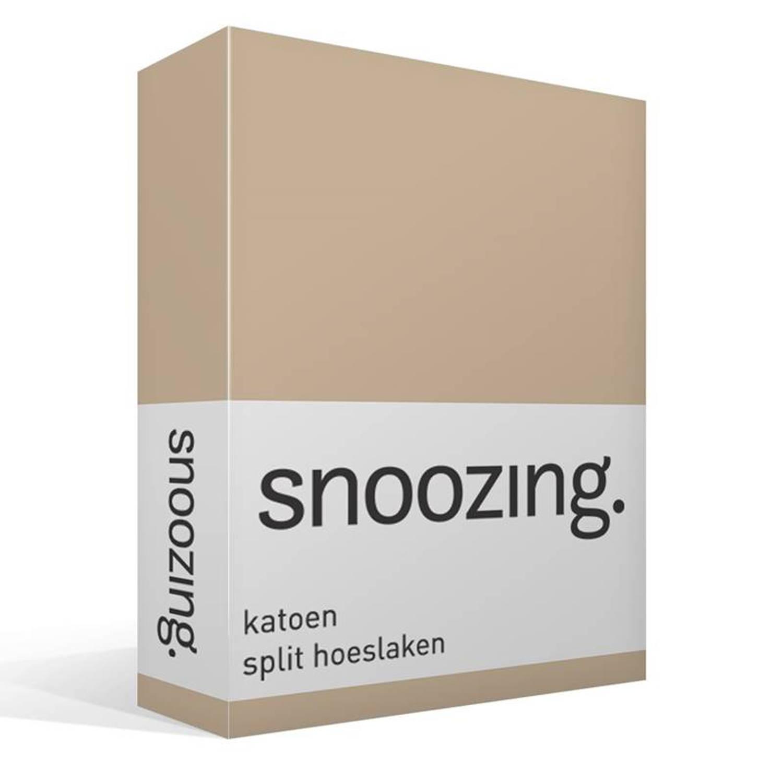 Snoozing katoen split hoeslaken - 100% katoen - Lits-jumeaux (160x210/220 cm) - Zand