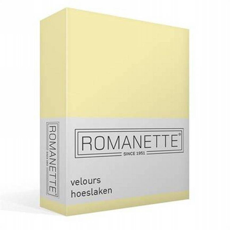Korting Romanette Velours Hoeslaken 80 procent Katoen 20 procent Polyester 2 persoons (140 150x200 220 Cm) Vanille