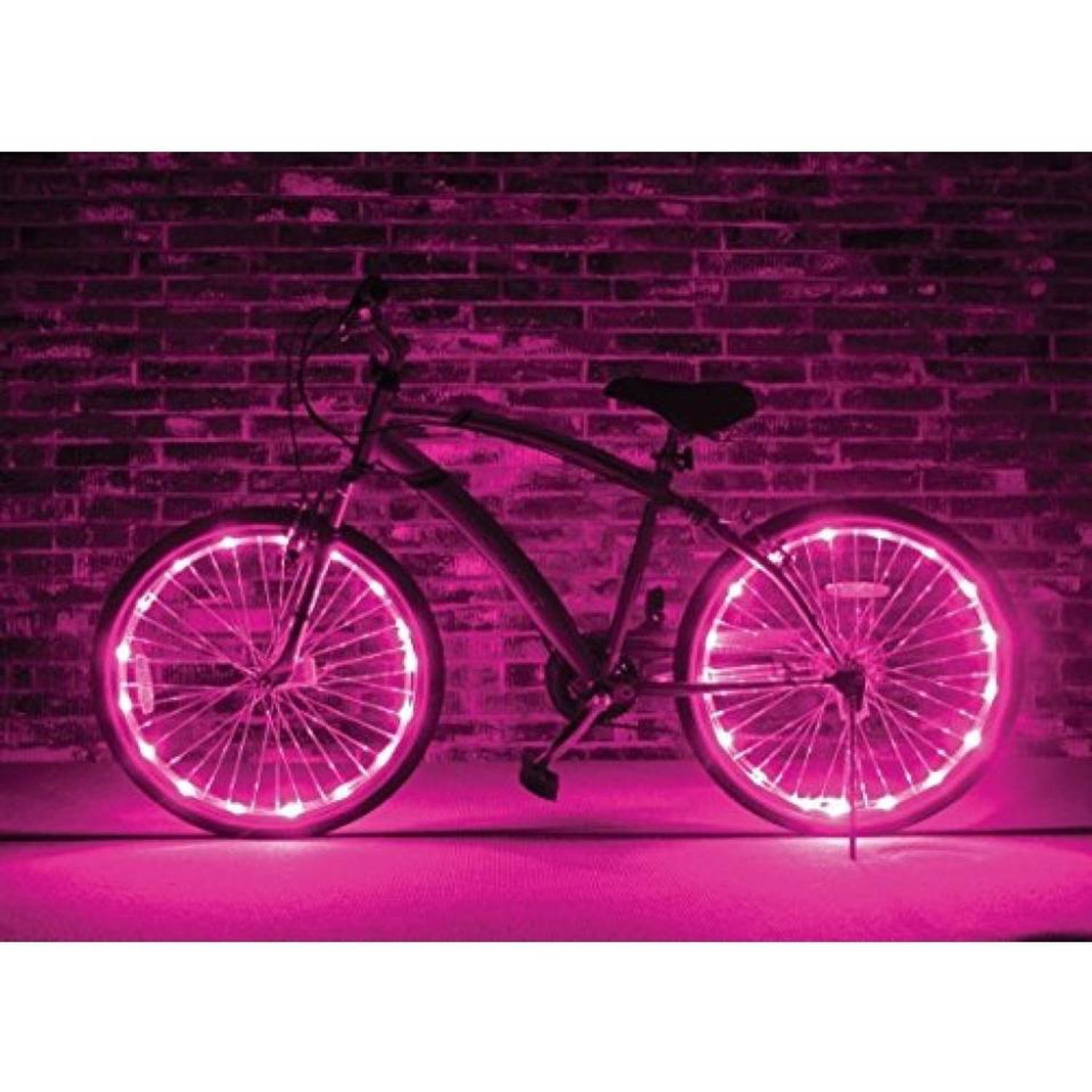 johntoy wielverlichting wheels of light roze 2 stuks