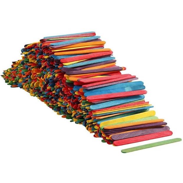 1000 stuks gekleurde knutselhoutjes - Ijsstokjes - Houten hobbymaterialen