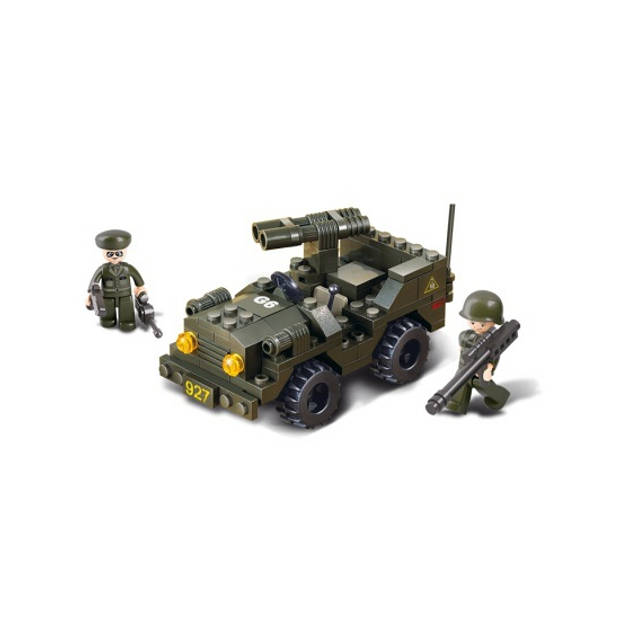Sluban leger speelgoed Jeep - Bouwsteentjes - Soldaten voertuigen