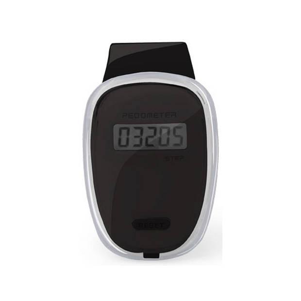 Zwarte stappenteller 4 x 6 cm - Wandelen/Fitness sport pedometer.