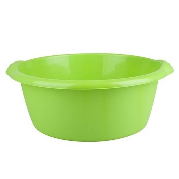 Ronde afwasteil / afwasbak groen 10 liter - camping / handwas afwasteilen