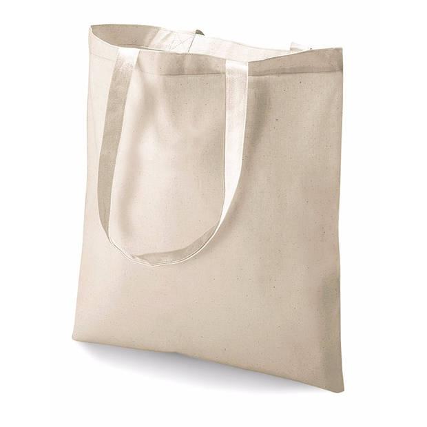 Katoenen schoudertasje naturel 42 x 38 cm - 10 liter - Shopper/boodschappen tas - Tote bag - Draagtas