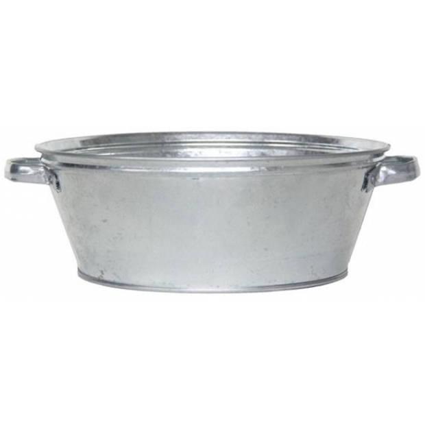 Ronde zilveren zinken teil 9 liter