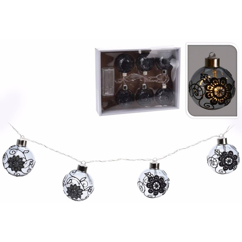 Kerstversiering zwarte kerstballen slinger met led verlichting