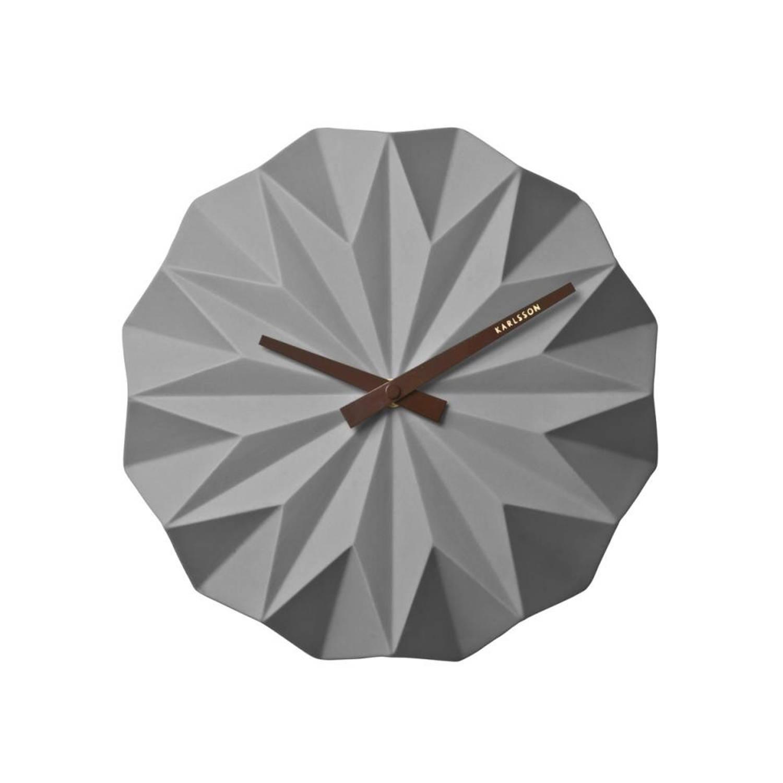 Karlsson wandklok Origami - Ø 27 cm - keramiek - grijs