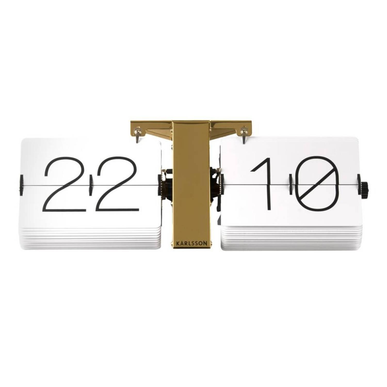 Karlsson tafelklok Flip - 36 x 8,5 x 14 cm - chroom - wit/koper