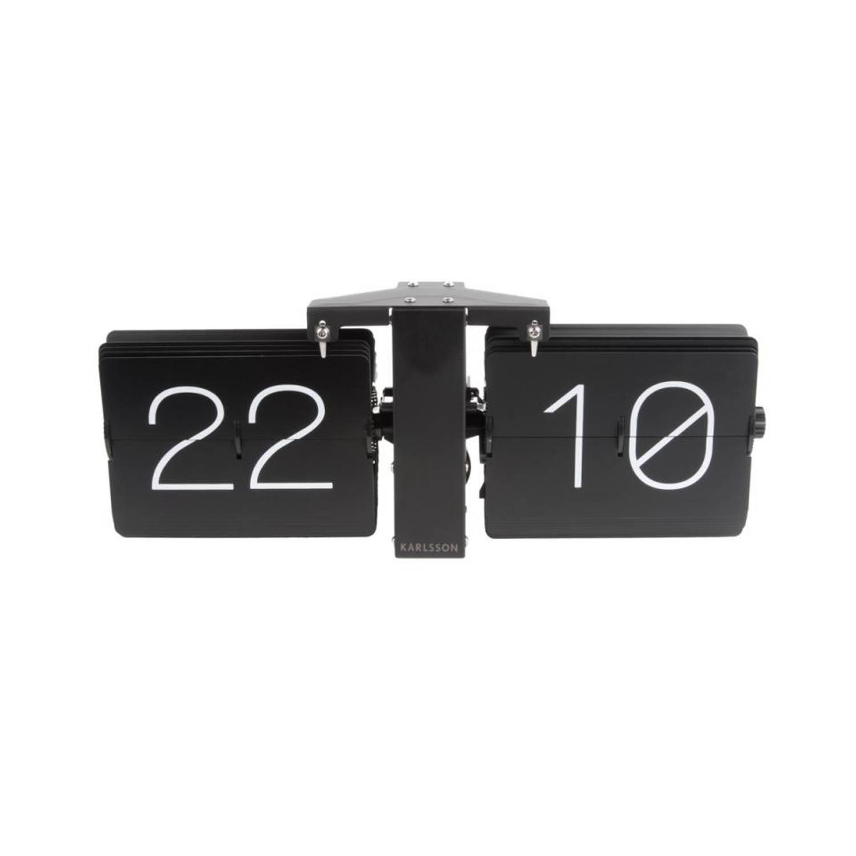 Karlsson tafelklok Flip - 36 x 8,5 x 14 cm - chroom - zwart