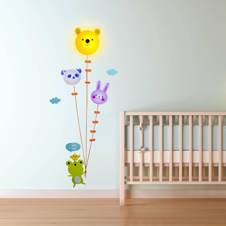 Led lamp met muur sticker dieren lengtemeter