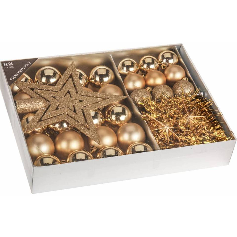 Home & Styling Kerstballen Set Goud 33-dlg
