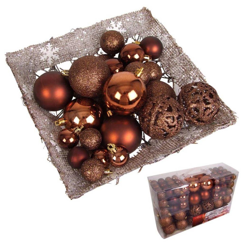 Afbeelding van 100 kerstballen bronskleurig (plastic)