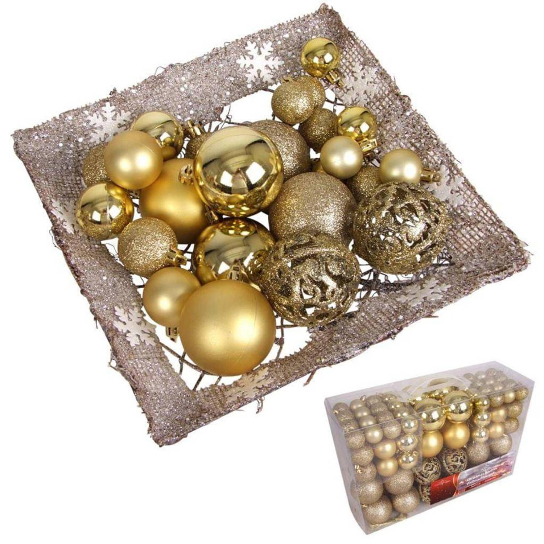 Afbeelding van 100 kerstballen goudkleurig (plastic)