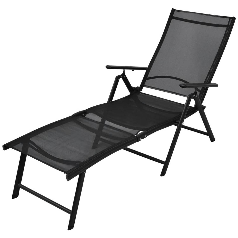 vidaXL Ligbed inklapbaar 178x63,5x96 cm aluminium zwart