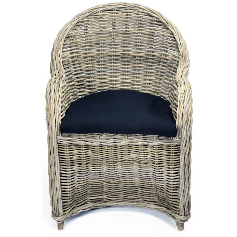 Van der Leeden stoel Antiek - 63 x 63 x 89 cm - rotan - grijs