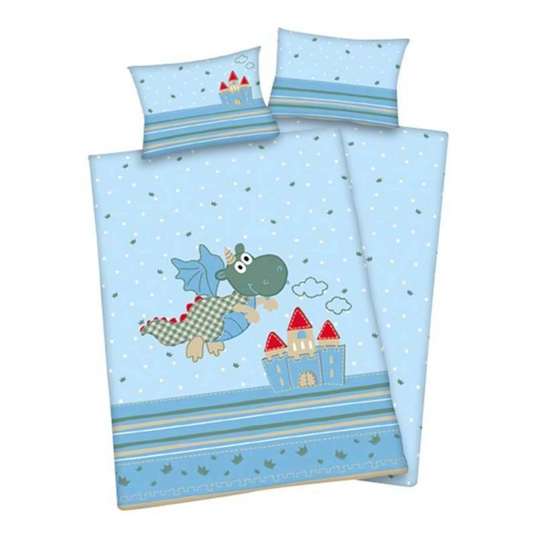 Afbeelding van Baby Best Happy Dragon ledikant dekbedovertrek - 100% katoen - Ledikant (100x135 cm + 1 sloop) - Blauw