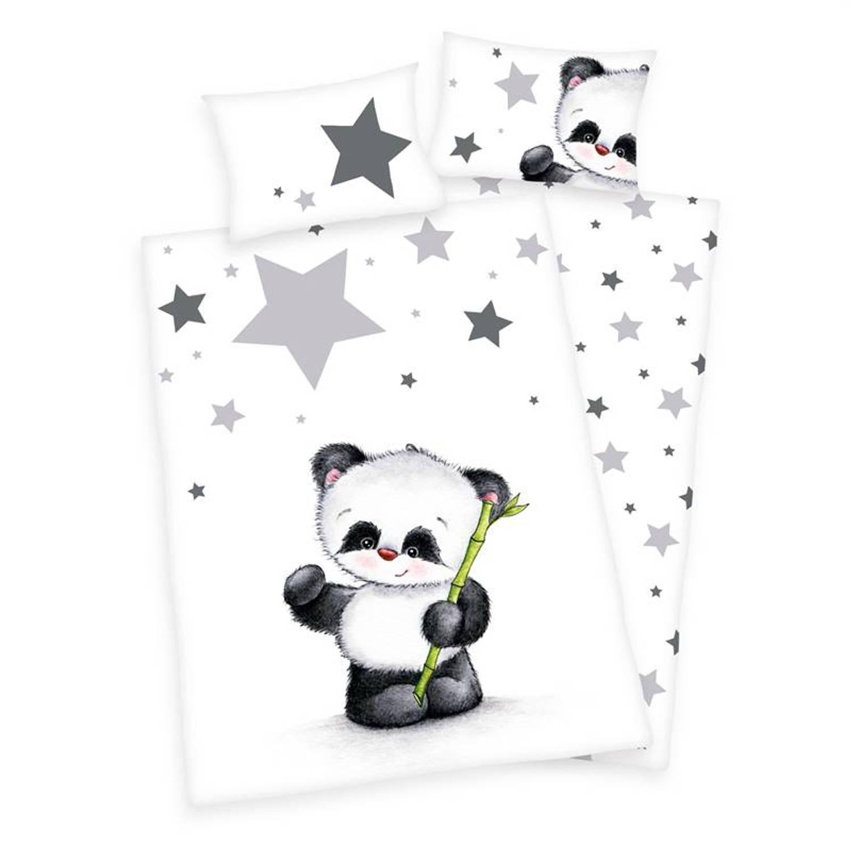 Afbeelding van Baby Best Panda dekbedovertrek - 100% katoen - Ledikant (100x135 cm + 1 sloop) - Wit