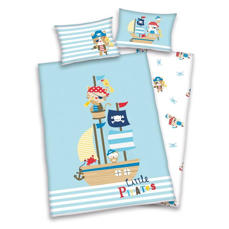 Afbeelding van Baby Best Little Pirates dekbedovertrek - 100% katoen - Ledikant (100x135 cm + 1 sloop) - Blauw