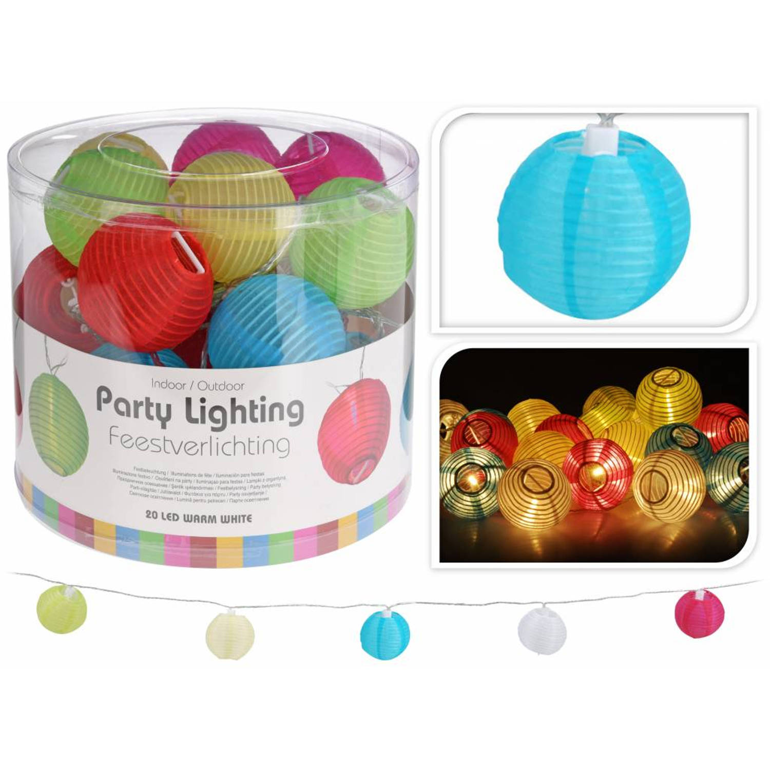 Party Lighting Feestverlichting met 20 gekleurde LED Lampionnen