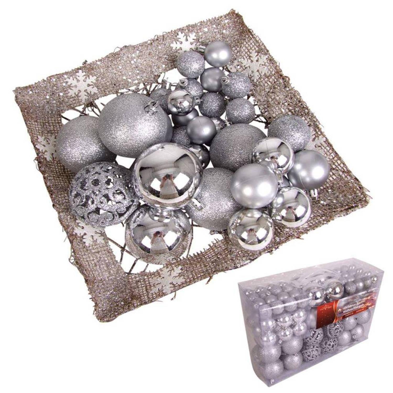 Afbeelding van 100 kerstballen zilverkleurig (plastic)