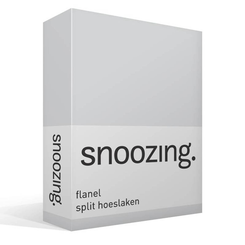 Snoozing - Flanel - Split-hoeslaken - Lits-jumeaux - 180x200 Cm - Grijs