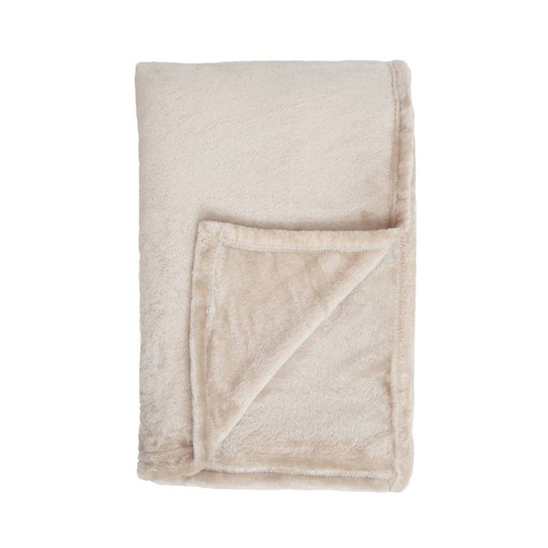 Unique Living Blush fleece plaid - 100% polyester, Fleece polyester - 150x200 cm - Ivoor, Pebble