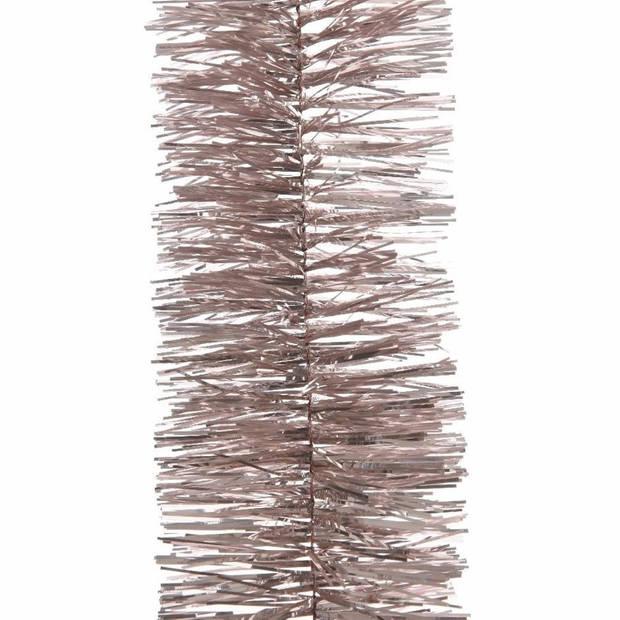 1x Kerstslingers lichtroze 270 cm - Guirlande folie lametta - Lichtroze kerstboom versieringen