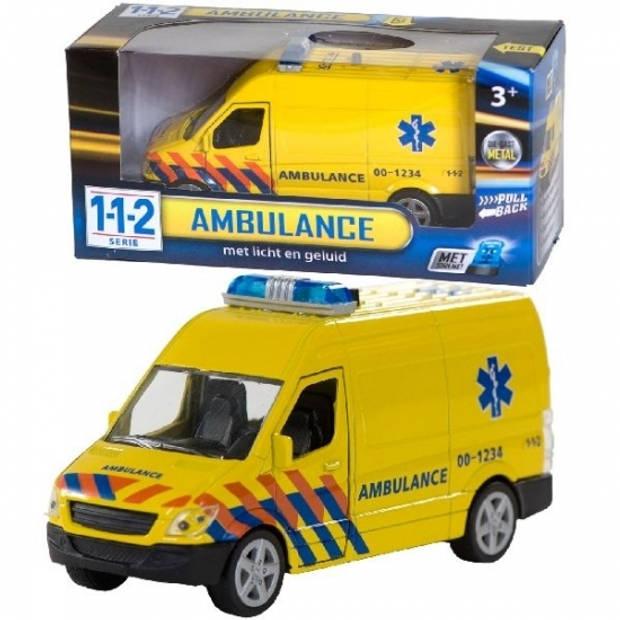 Speelgoed ambulance 12 cm met licht en geluid