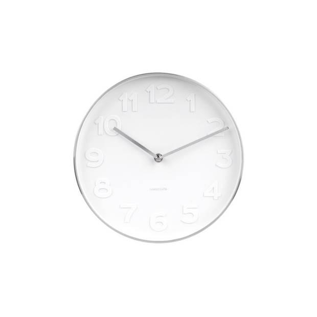 Karlsson wandklok Mr. White- Ø 27,5 x 5 cm - gepolijst metaal - wit/zilverkleurig