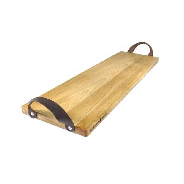 Bowls and dishes puur hout beuken serveertray met handgreep leer 69 cm