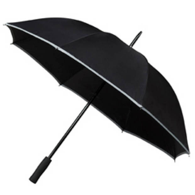Falcone golfparaplu met reflecterende rand - zwart