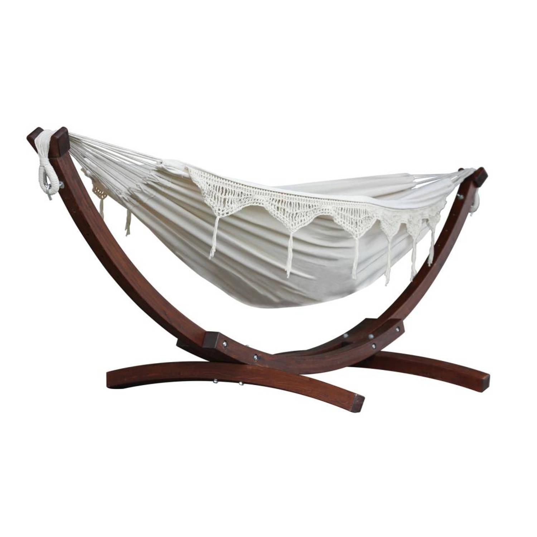 Hangmat Met Stevig Frame.Vivere Tweepersoons Hangmat Met Houten Standaard Natural Blokker