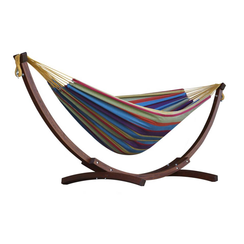 Vivere Tweepersoons Hangmat Met Houten Standaard - Tropical
