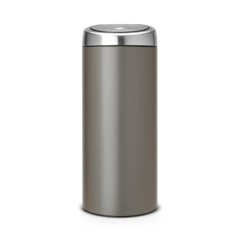 Brabantia Touch Bin 30 Liter Flat Top.Brabantia Touch Bin Recycle 2 X 20 L Platinum Met Fingerprint