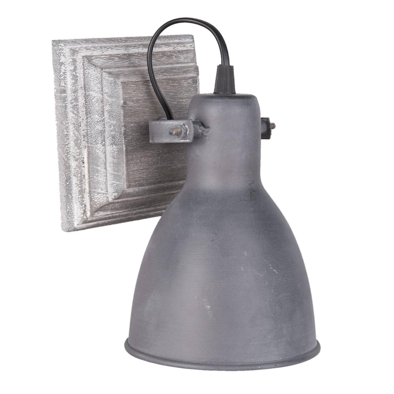 Clayre & eef wandlamp 13x24x13 cm / e27 / max. 1x15watt - grijs - ijzer, glas