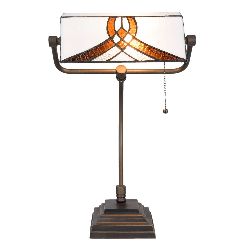 Clayre & eef bureaulamp tiffany 31x30x52 cm / e27 / max. 1x60 watt - bruin, wit, koper, multi colour - glas