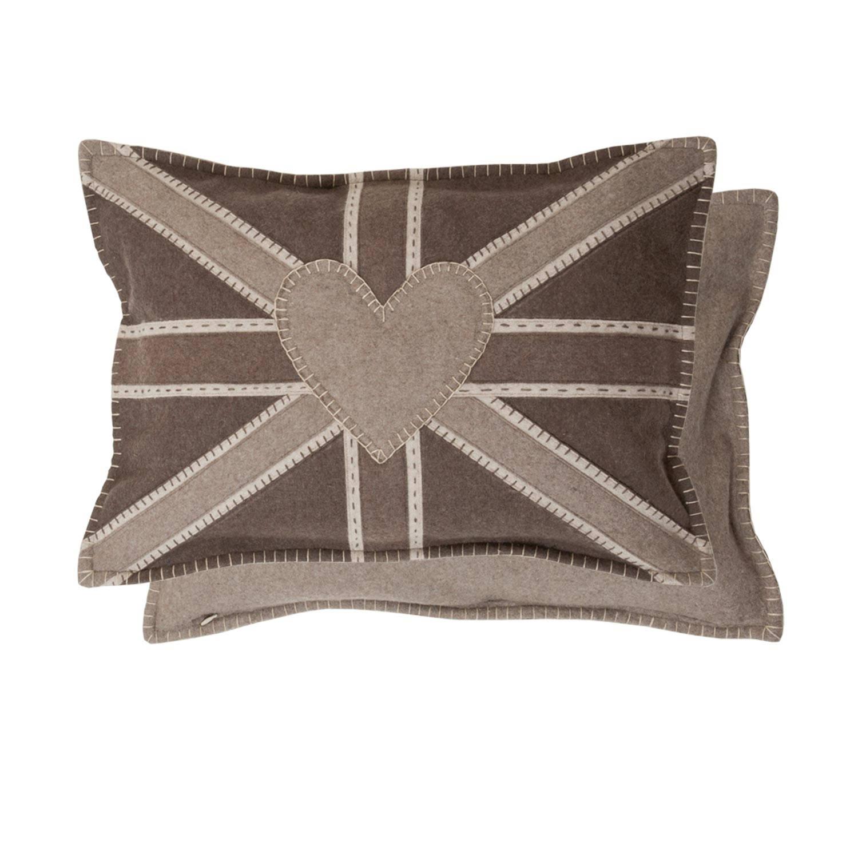 Clayre & eef kussenhoes 35x50 cm - bruin - polyester, wol, 100% katoen