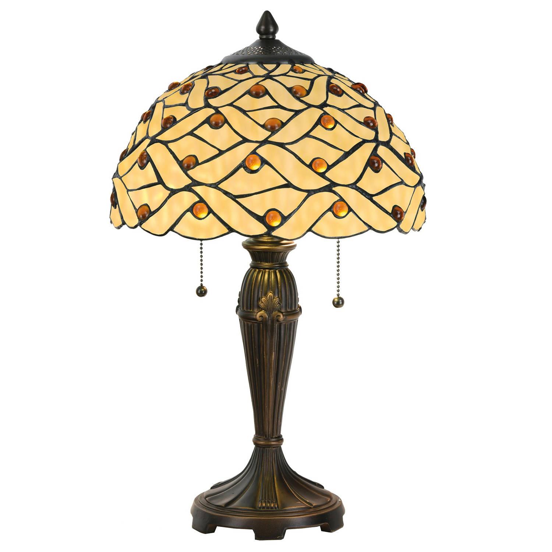 Clayre & eef tafellamp tiffany ø 30x50 cm / e27 / max.2x40 watt - multi colour - ijzer, glas